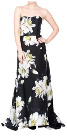 Carolina Herrera Strapless Floral Print Dress