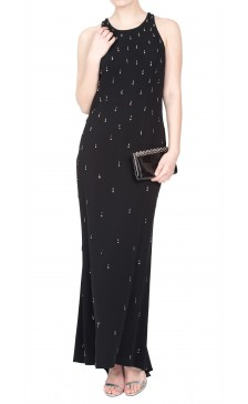 Angelo Mozzillo Embellished Sleeveless Maxi