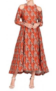 Emilia Wickstead Long Sleeve Jacquard Dress