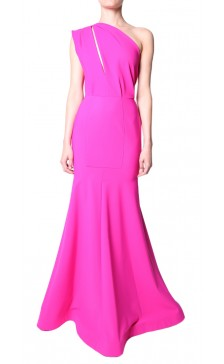 Greta Constantine one shoulder draped fishtail gown