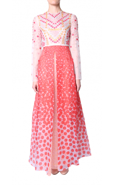 Holly Fulton embroidered organza print gown