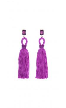 Oscar De la Renta Long Silk Tassel Earring
