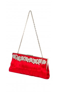 Valentino Pleated Silk Embellished Clutch