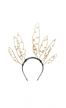 Vivienne Morgan Millinery Glittered Feather Shape Crown
