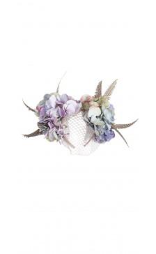 Vivienne Morgan Millinery Hydrangea Guinea Feathers & Veil Headband
