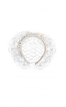 Vivienne Morgan Millinery Pearl Lace Veil Headband