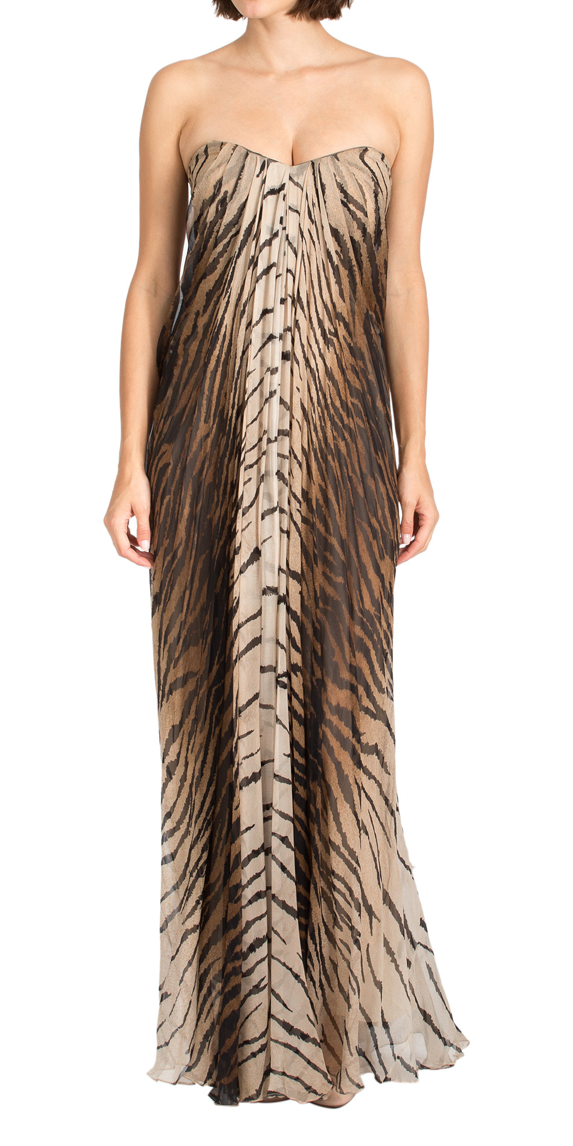 Alexander Mcqueen Jungle Print Strapless Dress
