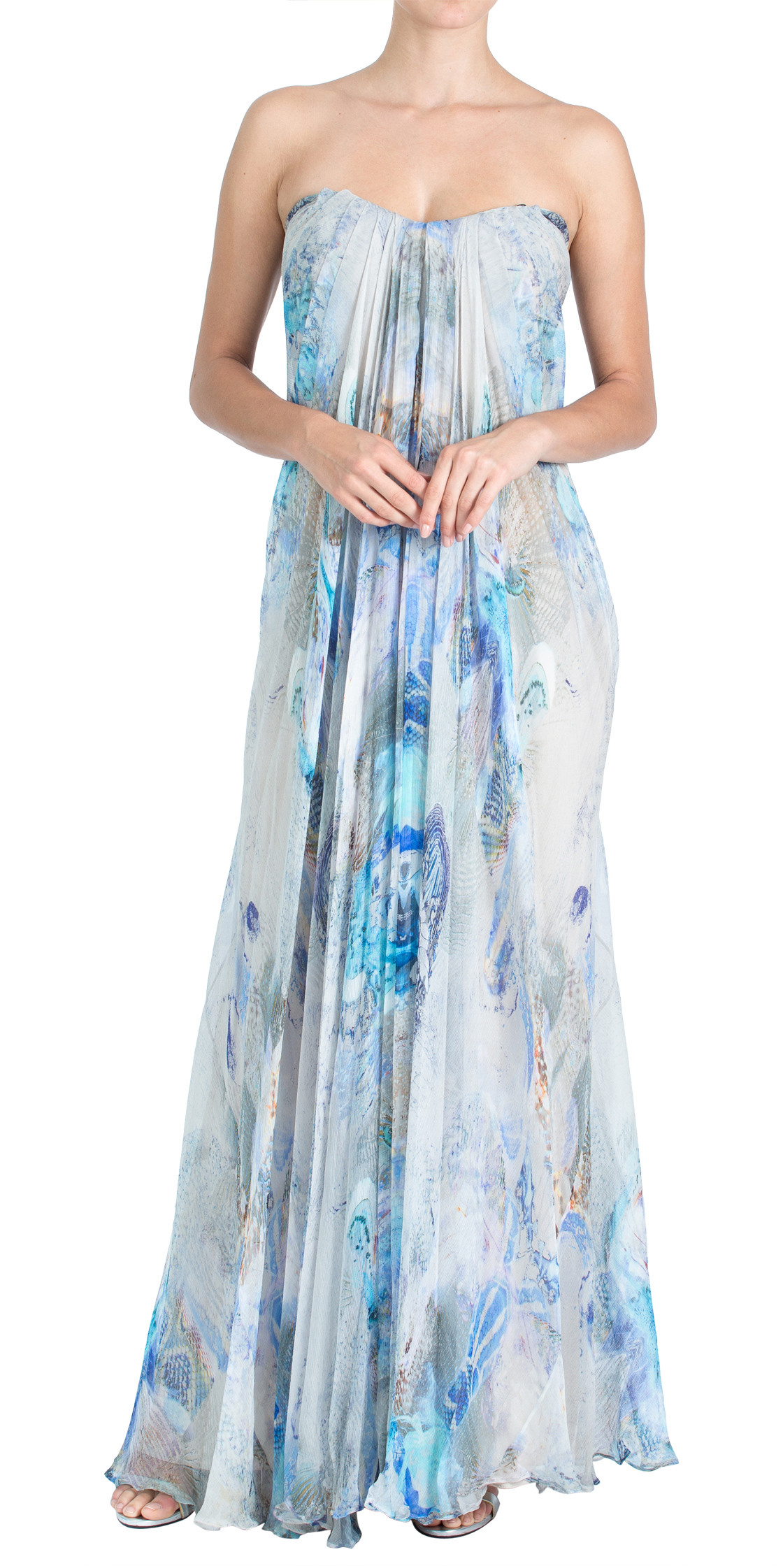 Alexander McQueen Strapless Chiffon Gown