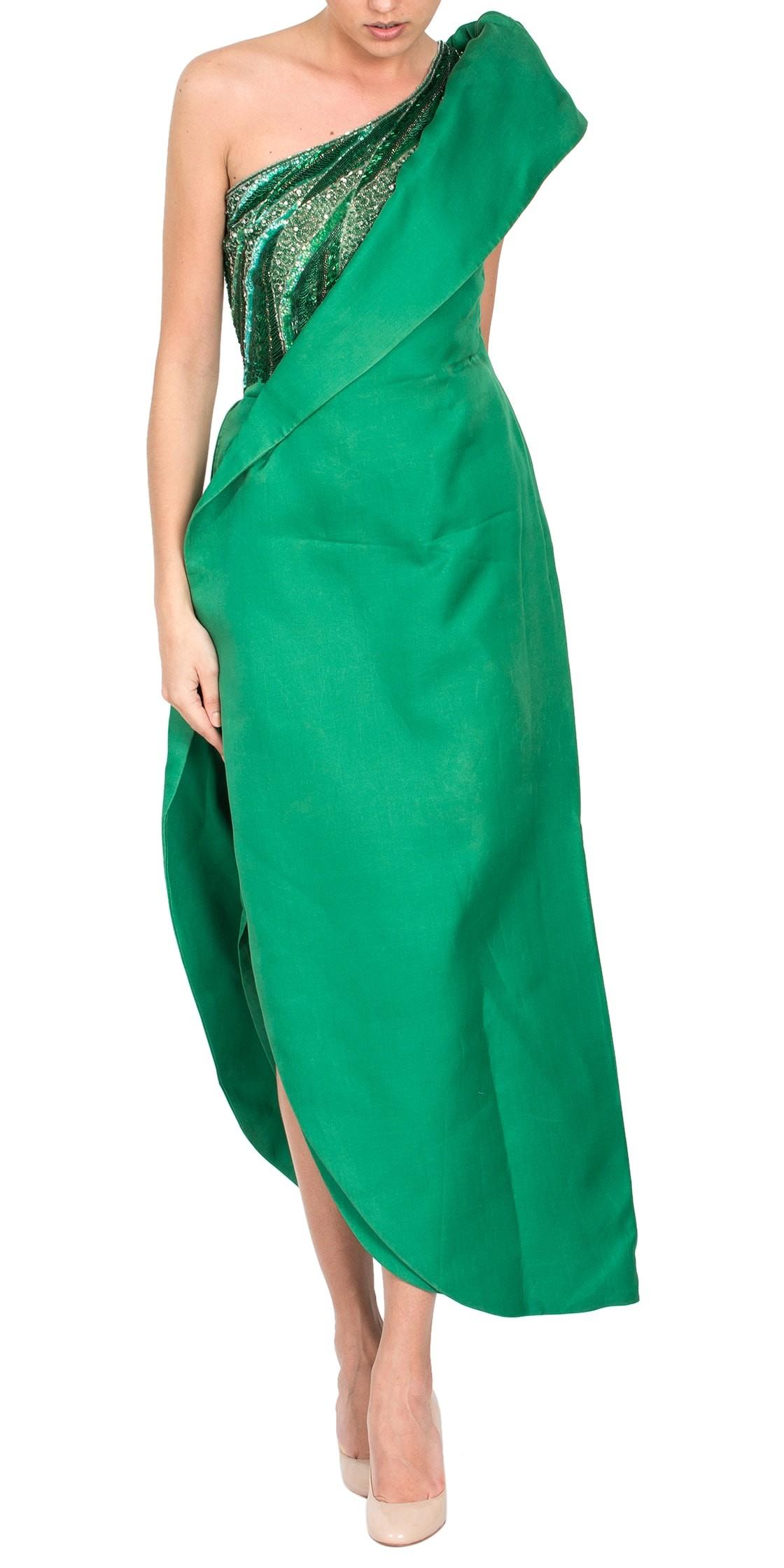 Custom Silk Asymmetric Gown