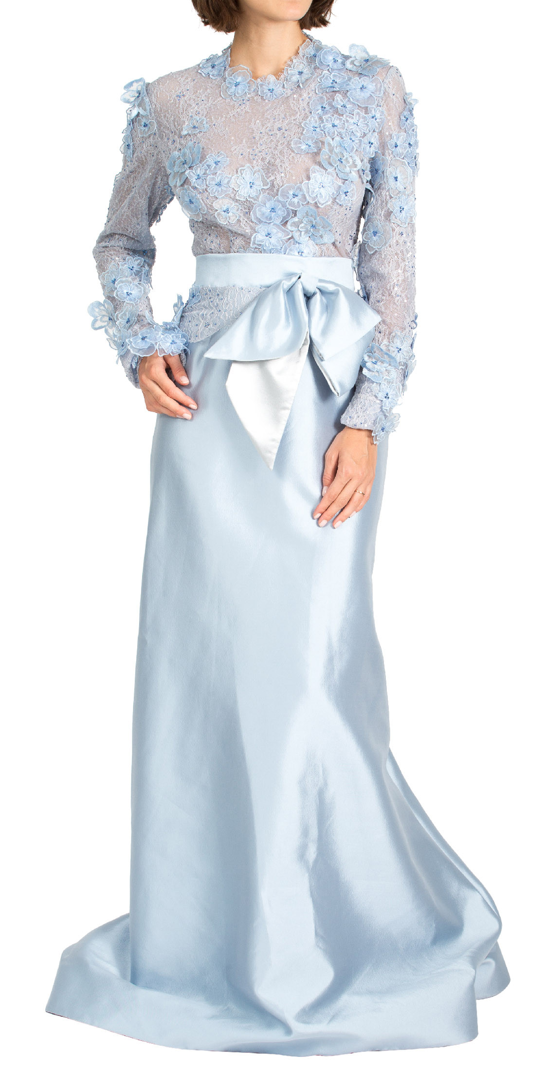 Gustavo Cadile Long Sleeve Lace Gown