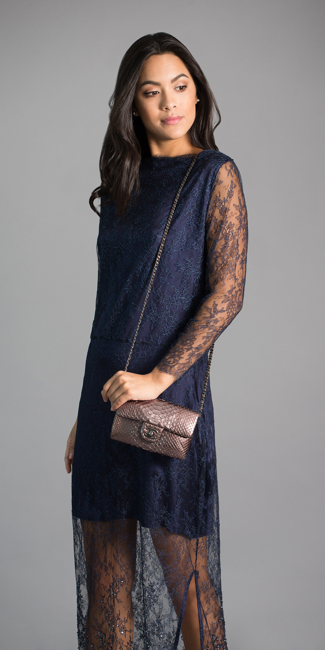 Marina Qureshi Long Sleeve Lace Dress