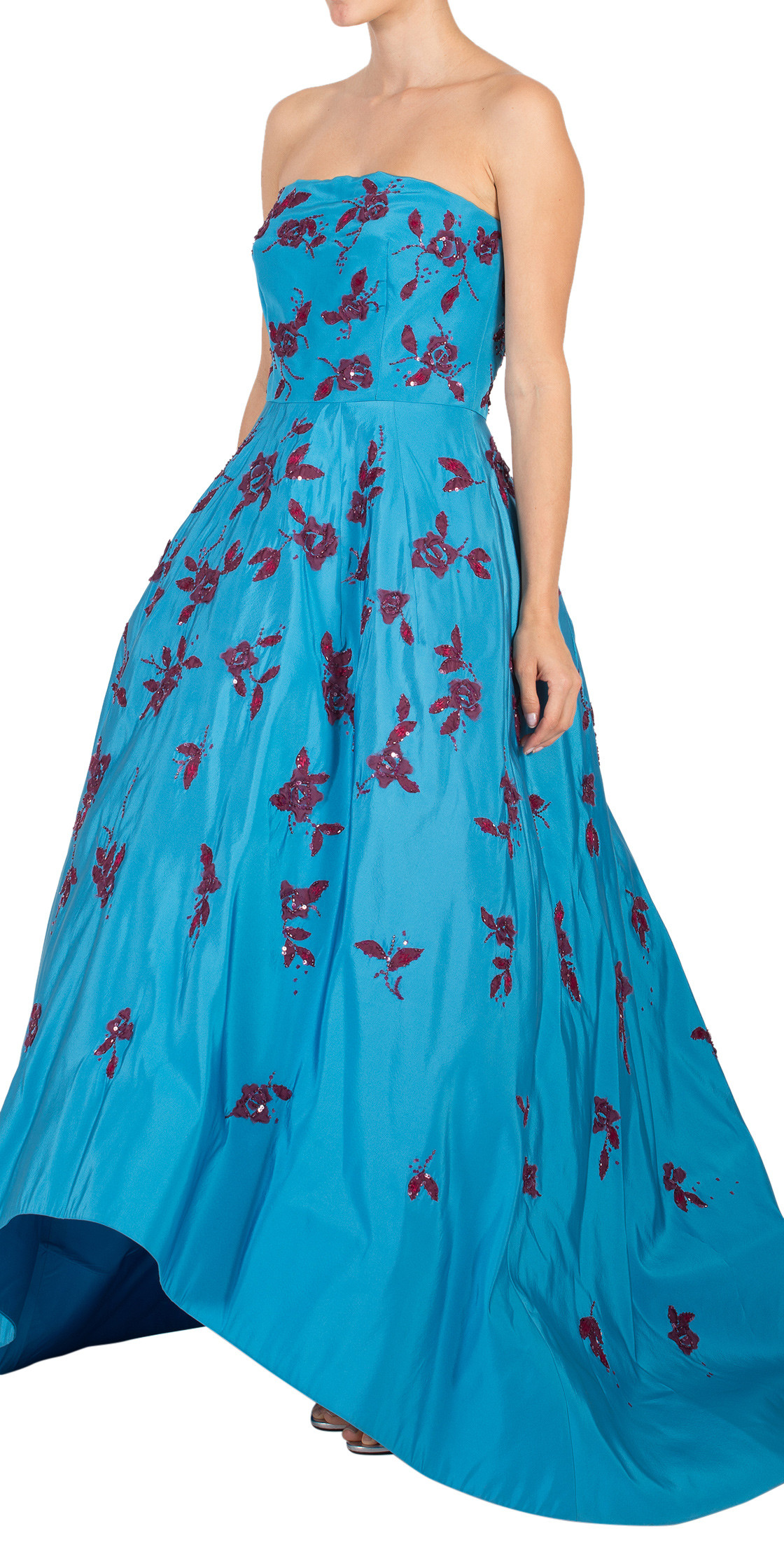 Oscar De La Renta Strapless Printed Gown