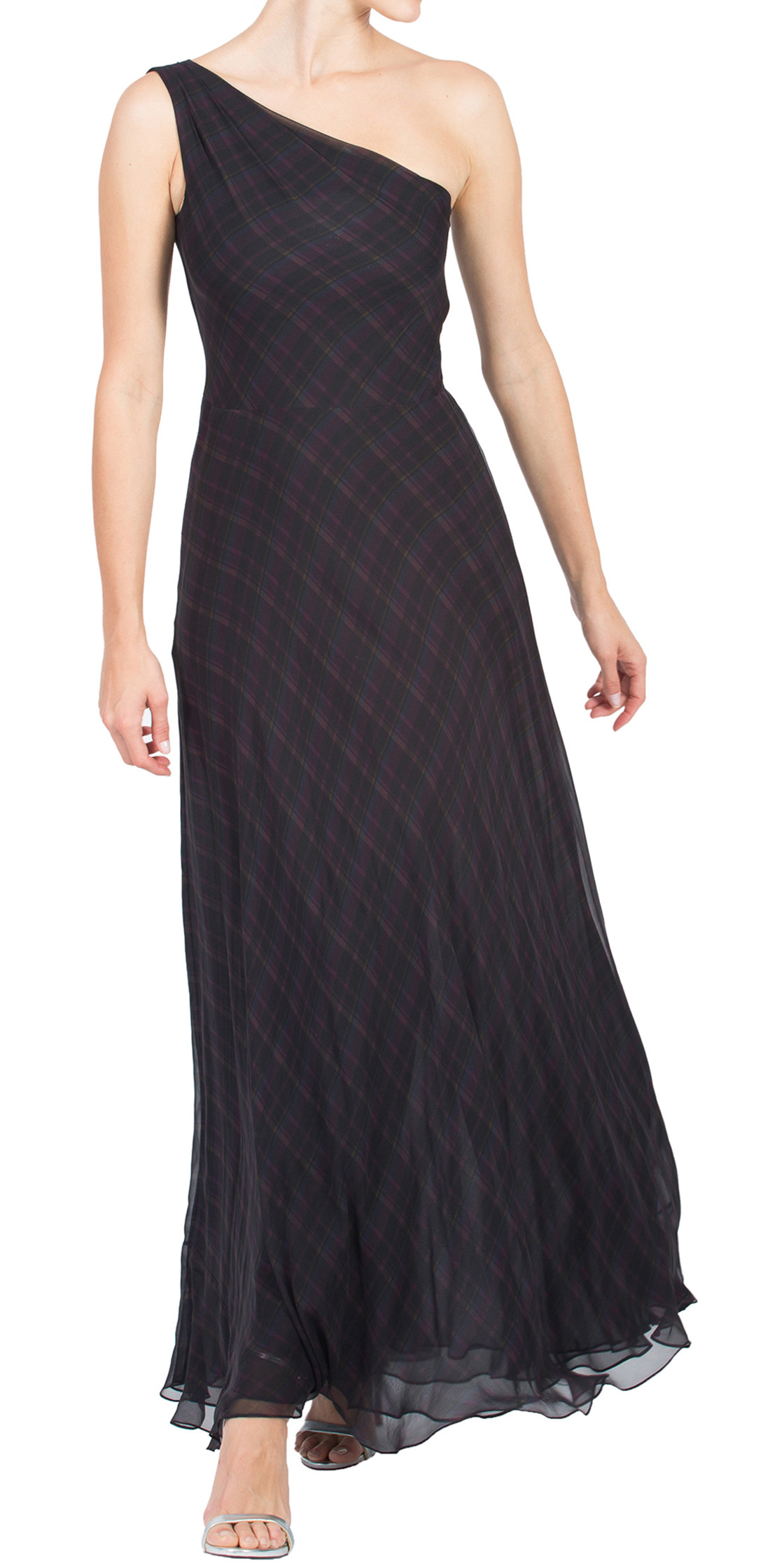 Ralph Lauren One Shoulder Chiffon Gown