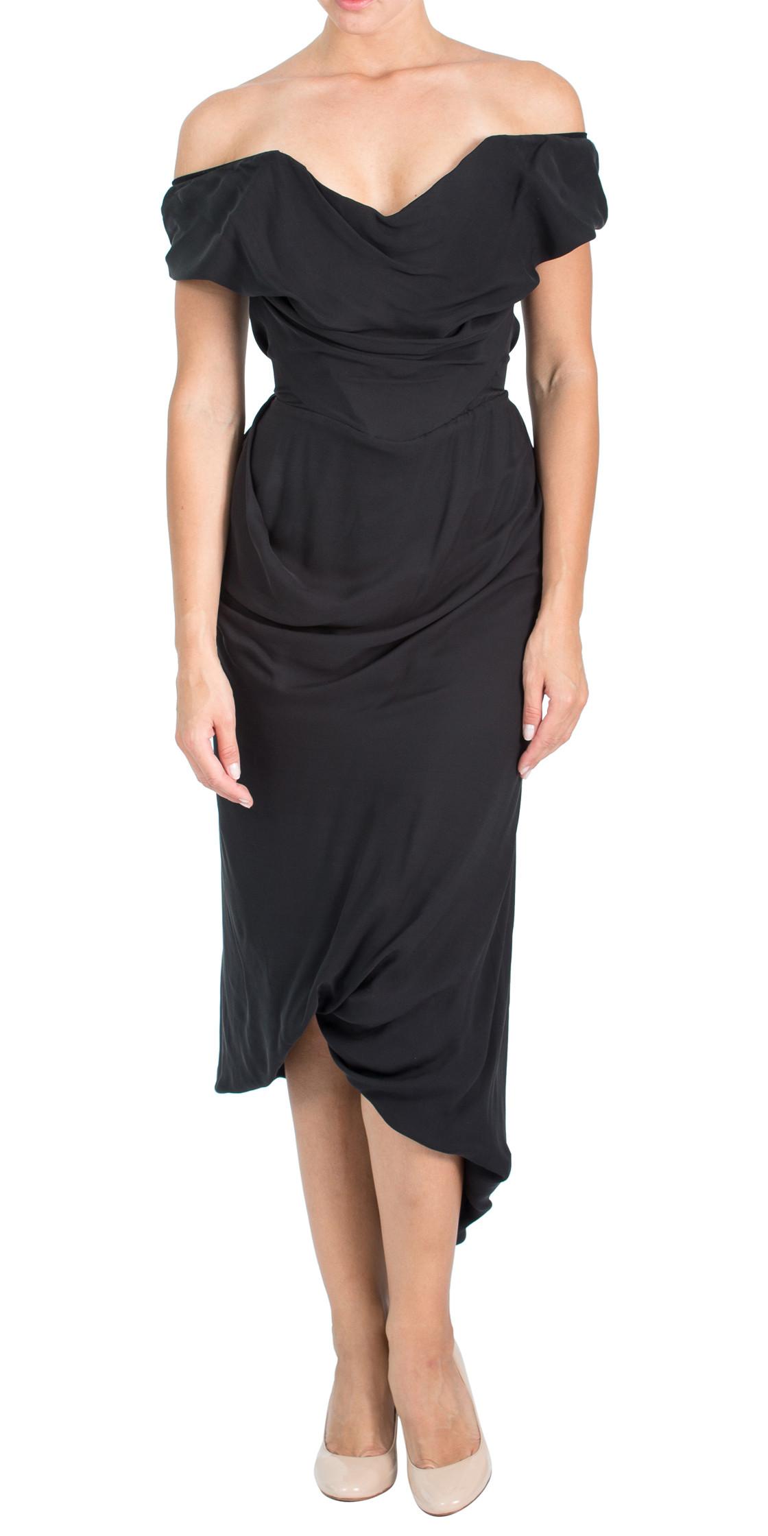 Vivienne Westwood Off the Shoulder Asymmetric Dress