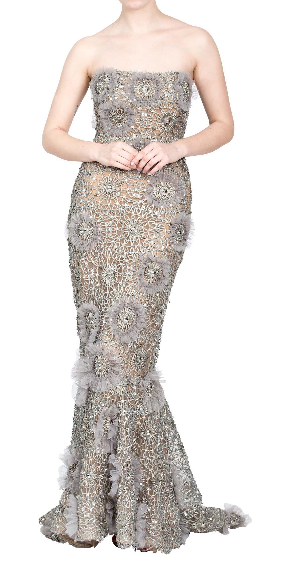 Strapless Sequined Gown | Evening Dresses Rental | Dubai Rent a ...