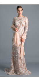 Maison Veiled Lace Gown