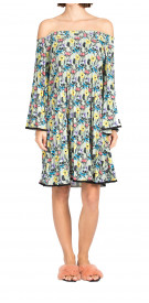 Nicole Miller Off-The Shoulder Pleated Floral Dress