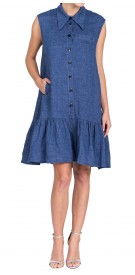 Osman Denim Pleated Dress