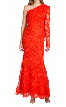 Alex Perry One-Shoulder Cord Lace Gown