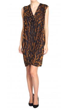 Alexander McQueen Leopard Cowl Neck Dress