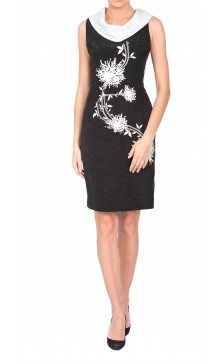 Angelo Mozzillo Cowl Neck Pencil Dress