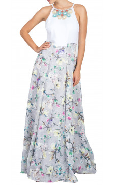 Badgley Mischka Embellished Printed Maxi