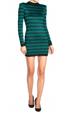 Balmain Embossed Chevron Pattern Dress
