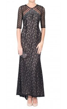 100% Polyester Lace Sheer Maxi
