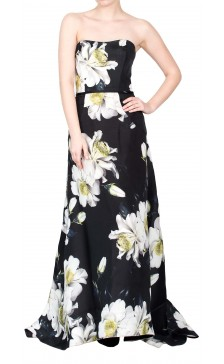 Carolina Herrera Strapless Floral Print Dress