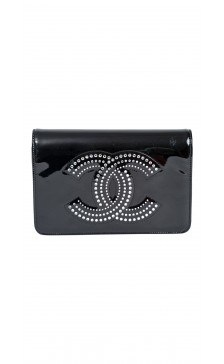 Chanel Patent Leather Embellished Clutch