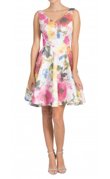 Christian Siriano floral brocade flare dress