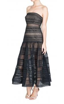 self-portrait - Sculptured Black Bandeau Dress