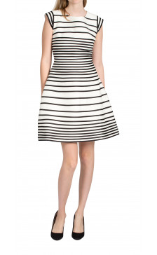 Halston Heritage Striped Capped Sleeve Dress