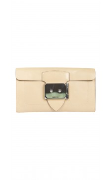 Hermes Leather Buckled Clutch