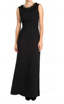 Issa beaded neck georgette gown