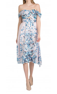 Lela Rose off the shoulder floral print dress