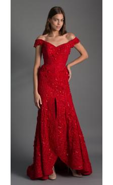 Maison Elegance Haute Couture Off the Shoulder Embellished Dress