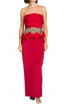 Marchesa Notte embellished strapless gown