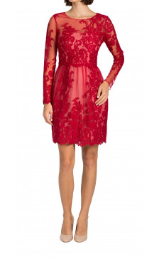 Marchesa Notte long sleeve lace dress