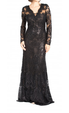 Marchesa Notte long sleeve sequins gown