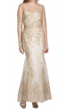 Marchesa Notte sheer embroidered lace gown
