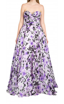 Naeem Khan strapless floral gown
