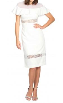 Nicole Miller Paneled Ruffled Dress