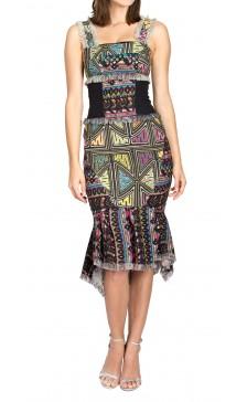 Nicole Miller Printed Tweed  Dress