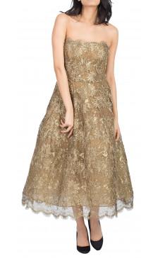 Oscar De La Renta Strapless Lace Gown