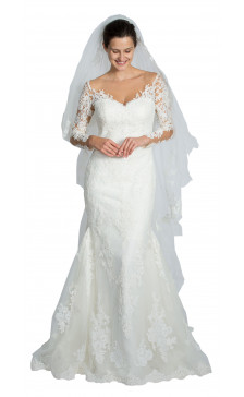 Pronovias Long Sleeve Lace Gown
