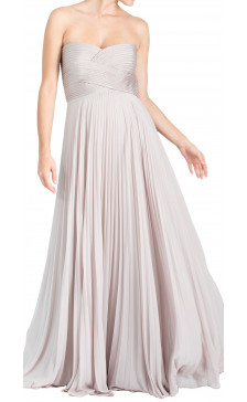 Pronovias Strapless Pleated Gown