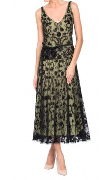 Reem Acra Lace Sequined Dress