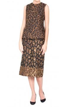 Carolina Herrera Leopard Print  Top & Skirt