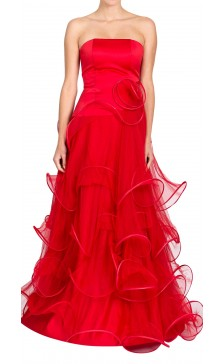 Suzanne Ermann Strapless Ruffled Gown